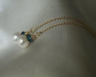 Pearl, London Blue Topaz drop earrings, Pearl ear threads, threader earrings, 14k gold fill ear threads, bridal earrings, something blue