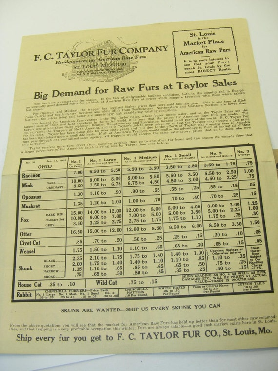 1930s Vintage Fc Taylor Fur Co Ad Lot Of 3 Delivery Tag