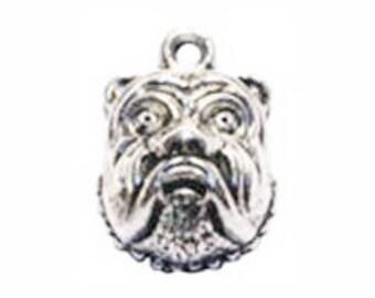 8 Silver Bulldog Charm Dog Pendant 18x13mm by TIJC SP0307