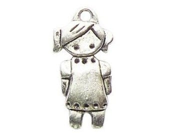 8 Silver Girl Charm 27x14mm by TIJC SP0428