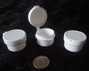 3-gram White Hinged Jars Pots Plastic Containers 3ml Lot of 100