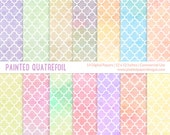 "Digital Paper Pack  ""PAINTED PASTEL QUATREFOIL""  Digital paper for scrapbooking, cardmaking. Commercial License for Small Business."
