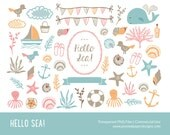 "Hello Sea Clip art: ""SEA & NAUTICAL CLIPART"" Digital clipart for scrapbooking, card, invites. Pink blue orange brown doodle."