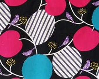 Echino Kokka Black with Purple birds, fushia and turquoise Cotton Linen Blend