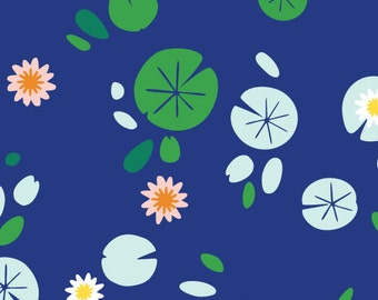 Lily Pond in Navy by Rae Hoekstra from the Lotus Pond collection for Cloud 9 Fabrics