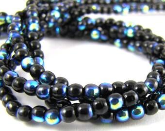 Jet Black AB 3mm  Round Czech Glass  Beads 100pc #599