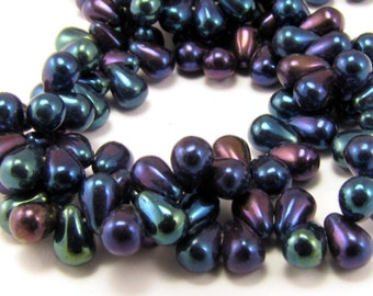 Iris Blue Tear Drop 4x6mm Czech Glass Beads 50pc #277