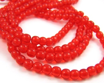 Light Siam Red 4mm Smooth  Round Czech Glass  Beads 100pc #1927