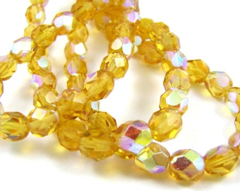 Med Topaz AB 6mm Facet Round Czech Glass Fire Polished Beads #1964