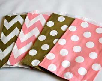 Pink  Blush and GoLD Chevron PoLKa Dot dotted  goodie Favor Treat paper bags sacks wedding baby bridal shower candy buffet elegant trendy