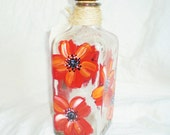 Painted  Poppy Tequila Bottle
