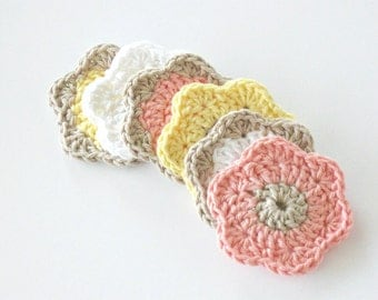 Makeup Removers, Crochet Face Scrubbies, Facial Cleansing Pads, Drink Coasters, Washcloth