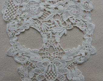Off-white Cotton Lace Applique, Skull Applique, Embroidery Skull Applique, Off-white Skull Applique 1 pc