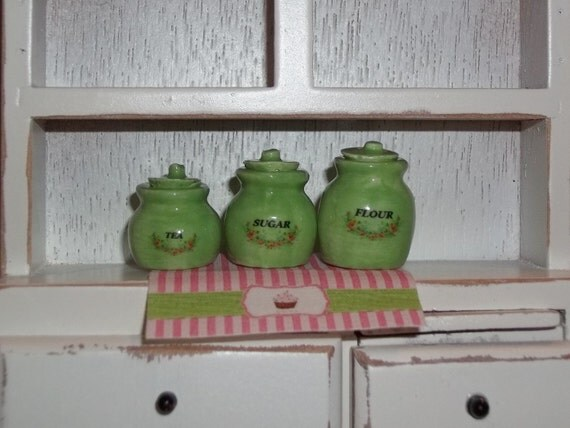 Dollhouse Miniature Kitchen Ceramic Canister Set - Sweet Pea Green