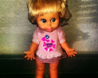 Sale Was 68 Now 48.00 Mint 1990 Galoob Baby Face - Cynthia Doll with Original Dress and Diaper
