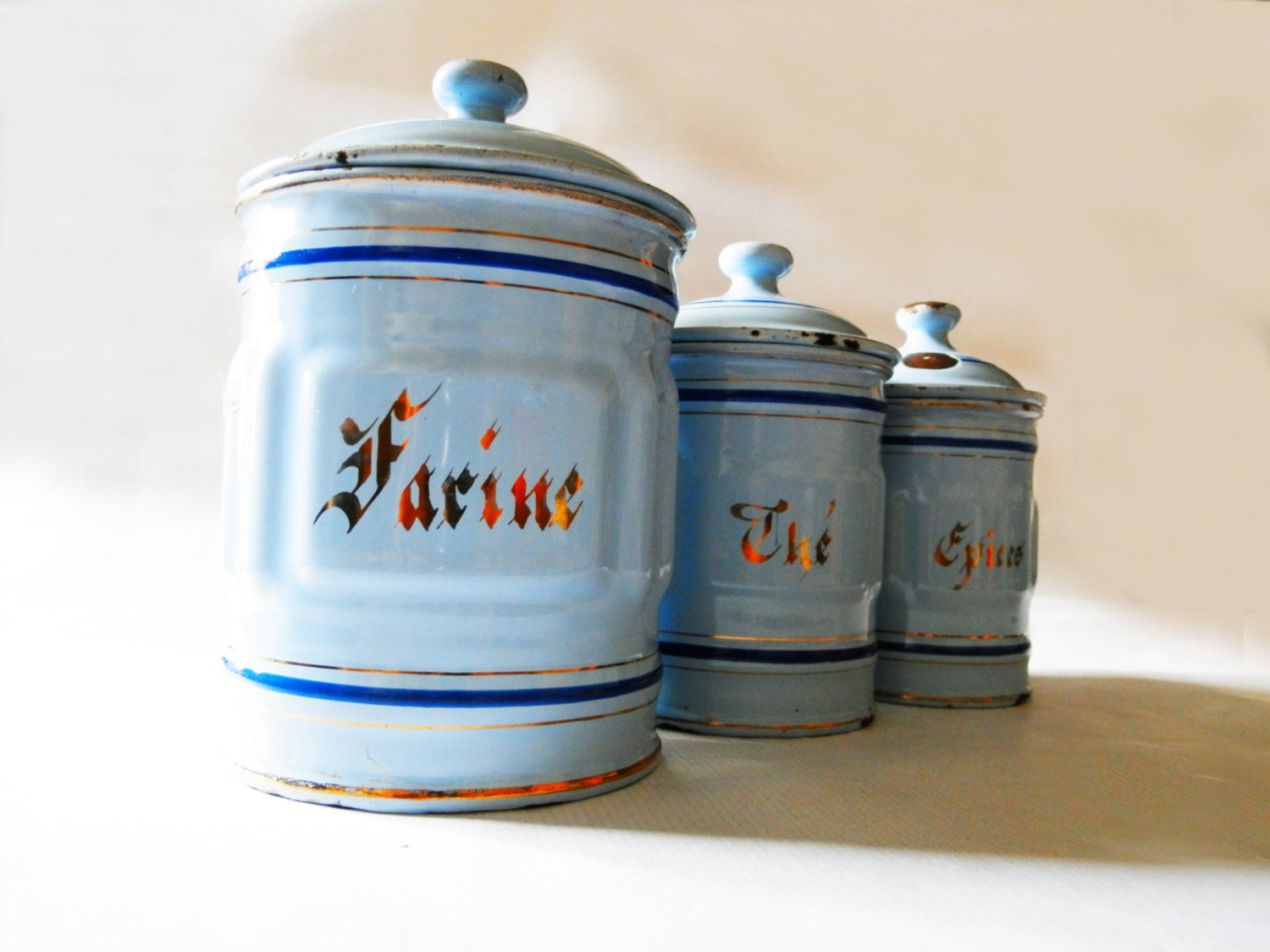 1930 s french kitchen blue canisters set by enamel retro kitchen canisters white blue grey tea