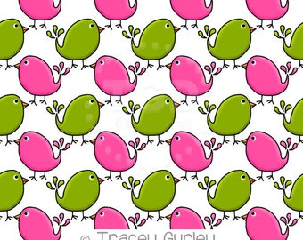Preppy Cute Birds Pink and Green - digital paper, preppy digital paper, pattern paper, bird digital paper