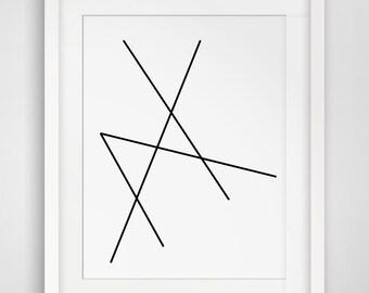 Geometric Art, Minimalist Black and White, Abstract Print, Geometric Print, Line Artwork, Geometric Print Art, Black, White,