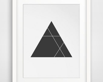 Modern Geometric Art, Geometric Artwork, Modern Abstract Print, Triange Wall Art, Modern Wall Prints, Black and White Decor, Printable