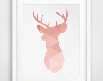 Coral Deer, Deer Head, Coral Art, Pink Wall Prints, Wall Decor, Printable Art, Deer Wall Prints, Coral Print, Deer Antlers, Downloadable