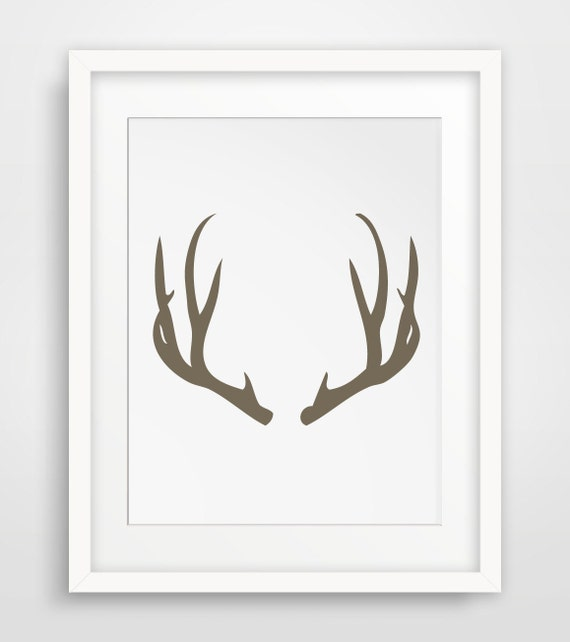Brown antler print antler art print deer wall art brown for Wall art templates free