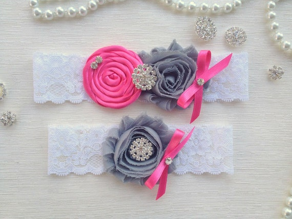wedding garter set, ivory bridal garter set, ivory lace garter, hot pink rolled rosette and bow, grey chiffon flower, rhinestone