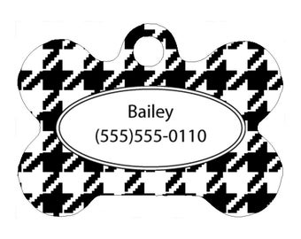 Pet Tag, Dog Tag, One Sided Personalized Pet ID Tag, Bone Shaped Pet Tag, Aluminum, Black White Houndstooth, Houndstooth Pet Tag,