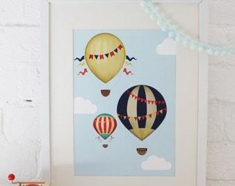 Nursery Print: Hot Air Balloon