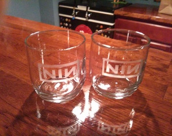 Nine Inch Nails Etched Rocks Glass