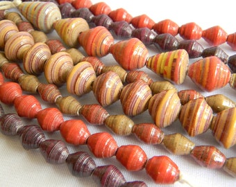 Paper Bead Jewelry Supplies - Paper Beads - Hand painted - Lot of 123 - #632