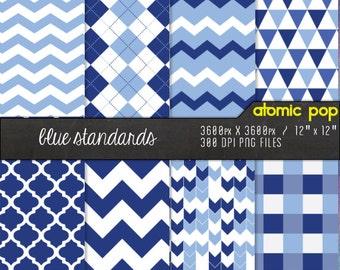 SALE  Blue Standards Classic Digital Paper Pack// Instant Download for Decoupage, Scrapbooking, and Crafts // Preppy, Chevron, Argyle