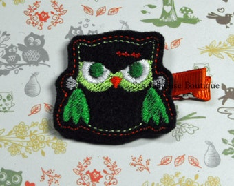 Frankenstein Halloween Evil Owl Felt Hair Clips, Feltie Hair Clip, felt hair bow, felt hair clip, party favor