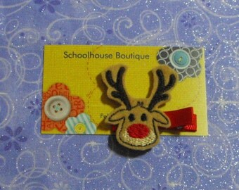 Reindeer with red nose (tall antlers) Felt Hair Clips -Felties - Feltie Hair Clip - Felt Hair Clips - Felt Hair Clippie-Party Favor