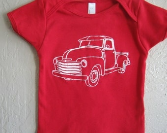 Ready to Ship-Farm Truck one-piece, American Apparel Baby Onesie, 18-24 mos