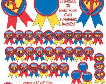 Superhero clipart, badges, superhero clip art, awards, commercial use, digital clipart, instant download, AMB-115