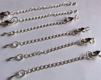 10 set Extender Chains with lobster claw clasp,Platinum color,83 mm long,Nickel,Lead and Cadmium Free,platinum chain,platinum extender chain