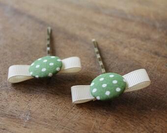 Bobby Pin  Hair accessories girls hair pin Green polka dot bobby pin floral bobby pin