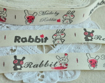 Fabric Label 20mm(3/4'') x 5 Yards Sewing Trim Sewing Tape Print Tag - Rabbit Letter Black White Red Y214
