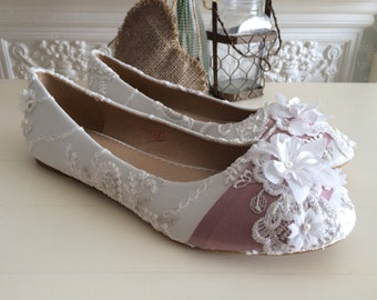 Custom wedding ballet pumps, flat shoes (Exclusive package)