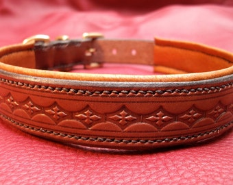 Handmade embossed padded dog collar, entirely hand stitched in Brown English leather.