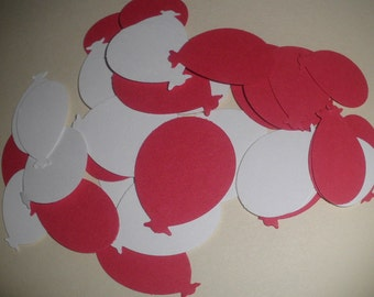"""100 red and white color martha stewart balloons confetti punched die cuts 1"""" -perfect for scrapbooking, cards, showers, embellishments"""