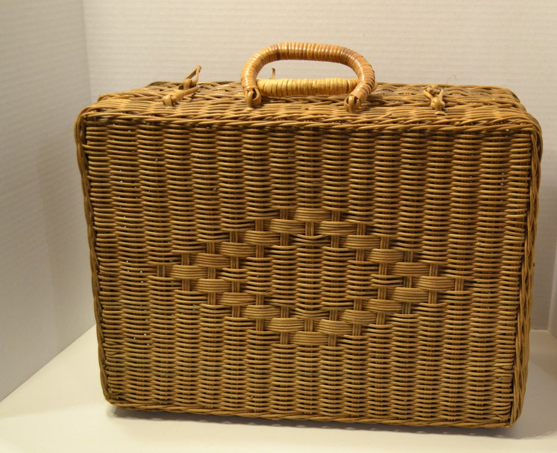 Picnic Basket Spotlight : Vintage large wicker suitcase picnic basket wedding storage