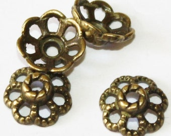 40 pcs Antique Bronze Bead Caps 9 mm, Lead, Nickel & Cadmium Free Jewelry Findings, metal findings