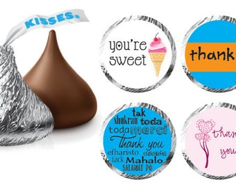 PRINTED Hershey Kiss Labels - Thank You Labels