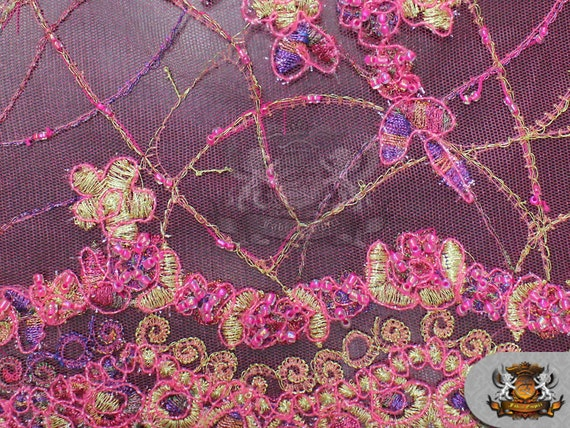 Mesh lace embroidered floral hand beaded fabric by