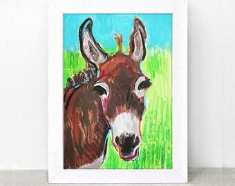Lonely donkey ,original acrylic painting ,free shipping