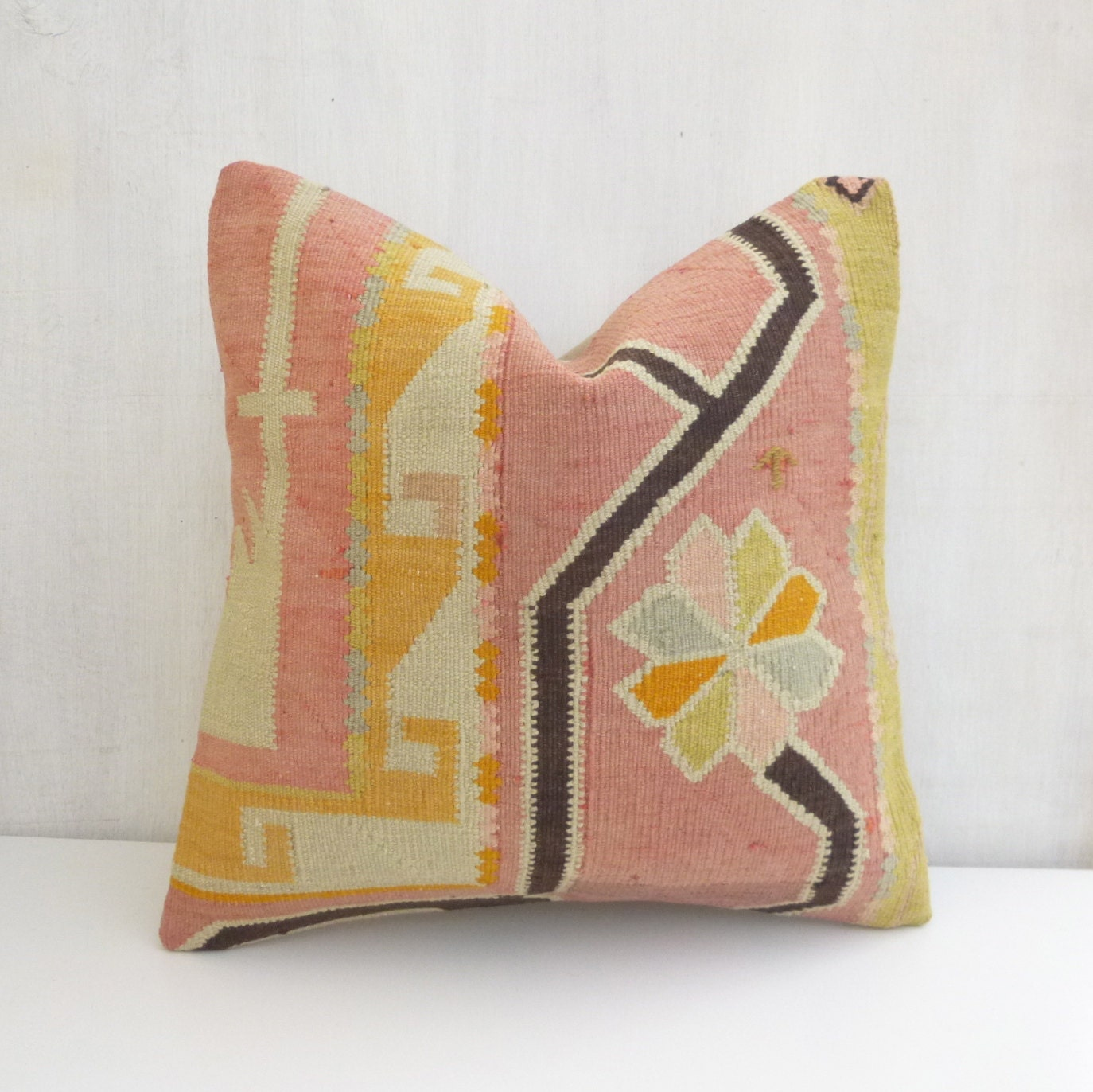 Modern Bohemian Decor Light Pink Throw Pillow by SophiesBazaar
