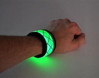 Green LED Light Up Slap Bracelets