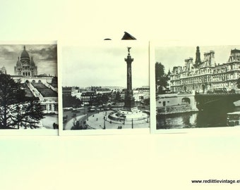 Photos- Set of Three Small Original Prints Paris Vintage B&W Photograph, Vintage Photography, Sacre Coeur, Bastille Memorial, Seine River