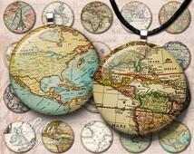 Vintage Maps Circles - Instant Download, Antique Maps, World Map, 1 inch circle images, bottle cap images, printable images, round images